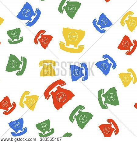 Color Telephone 24 Hours Support Icon Isolated Seamless Pattern On White Background. All-day Custome