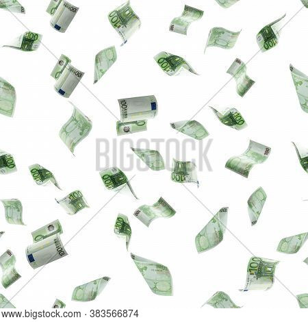 Money Seamless Pattern Background. Hundred European Euro.business Cash Money Falling. Euro Money Fal