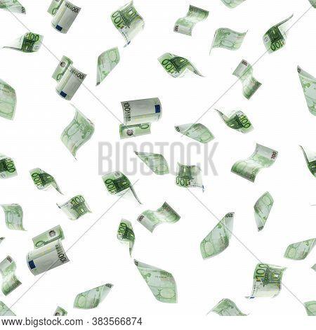 Money Seamless Pattern Background. Hundred European Euro.business Cash Money Falling. Euro Money Fal