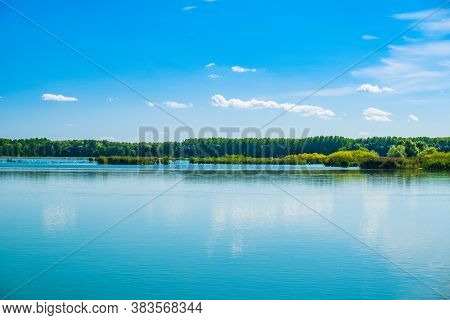 Amazing Lake In Varazdin, Bushes And Swans On Water Surface, Coutryside Croatia