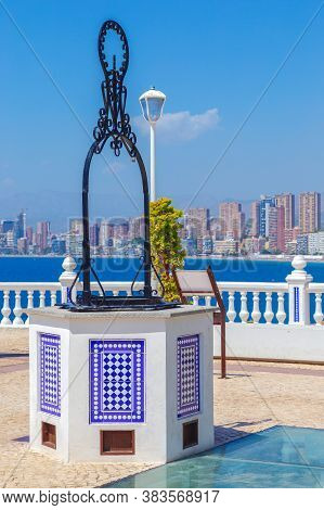 Benidorm, Spain - August 13, 2020: View Of Skyscrapers Of The City From The Balcony Of The Mediterra