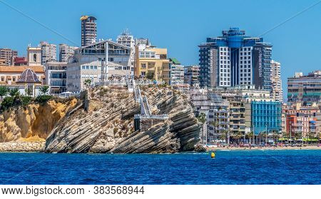 Benidorm, Spain - August 16, 2020: View From The Sea The Skyscrapers Of The City And The Balcony Of
