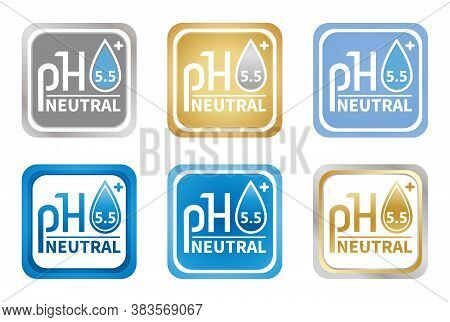 Ph 5.5 Neutral Balance Icon Set. Flat Vector Sign With Water Drop. Concept Laboratory Testing, Contr