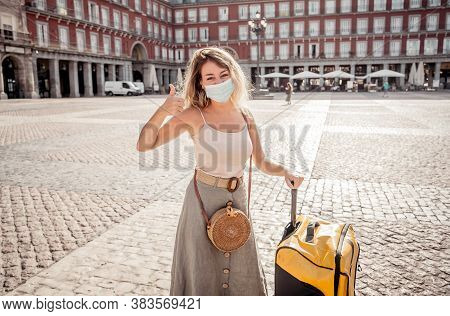 Young Tourist Woman Wearing Protective Face Mask Happy And Excited In Plaza Mayor Madrid Spain Enjoy