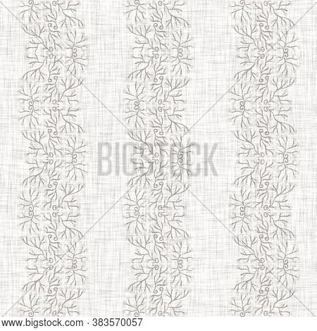 Seamless Gray French Woven Linen Floral Stripe Background. Ecru Flax Hemp Fiber Natural Pattern. Org