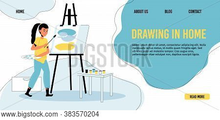 Happy Girl Child Drawing At Home Art Studio. Modern Painter Artist Workshop Room Interior With Canva