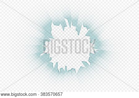 Cracked Glass Effect On Transparent Background. Broken Glass Texture, Crashed Surface. Cracked Glass