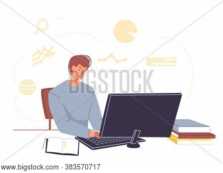 University Or College Student Study Online At Home. Young Man Sitting At Table Learning Subject Doin