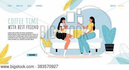 Casual Woman Help-mate Character Spending Time Together In Nice Conversation At Home Living Room. Fr