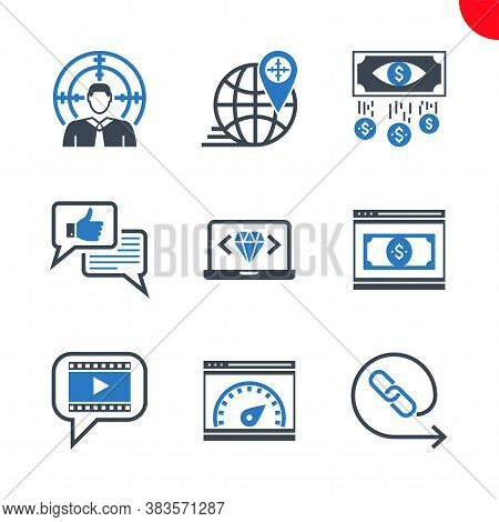 Seo Related Vector Glyph Icons Set. Target Audience, Video Marketing, Backlinks, Landing Page, Clean