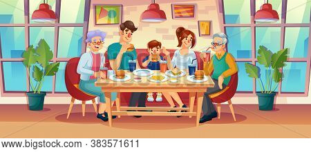 Happy Family Having Dinner Lunch Together At Fast Food Restaurant. Relatives Spending Time, Eating O