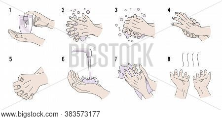 Hand Washing Instruction. How To Properly Wash Your Hands To Protects Yourself From Coronavirus Acco