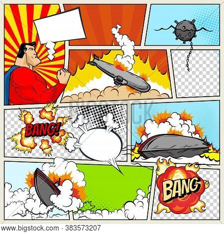 Template Comic Book Page With Warships. Pop Art Ships That Explode. Military Action. Comic Book Page
