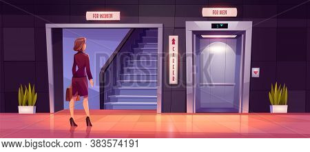 Sexism And Discrimination Of Women In Career Growth. Preoccupied Businesswoman Stand Near Ladder And