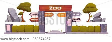Zoo Entrance With Wooden Board On Arch. Vector Cartoon Set Of Zoological Garden With Entry Gates, Di