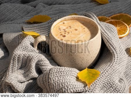 Atmospheric Autumn Or Fall Morning Coffee In Sunny Day. Fall Yellow Leaves, Hot Cup Of Black Coffee