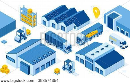 Warehouse Industry With Storage Buildings, Trucks, Forklift And Rack With Boxes. Vector Isometric Se