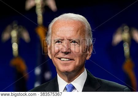 New York,united States,march 2020,democratic Party Presidential Candidate Joe Biden In Election Camp
