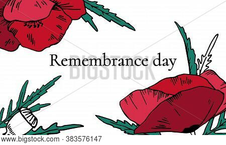 Remembrance Day Landscape Design Template With Color Poppy Flowers. Hand Drawn Vector Sketch Illustr