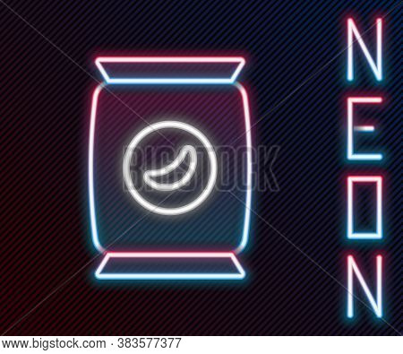 Glowing Neon Line Bag Or Packet Potato Chips Icon Isolated On Black Background. Colorful Outline Con