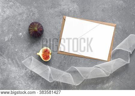 Feminine Wedding Invitation Template. Blank White Card Mocap, Fig, Ribbon, Craft Envelope. Gray Conc