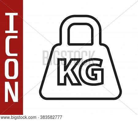 Black Line Weight Icon Isolated On White Background. Kilogram Weight Block For Weight Lifting And Sc