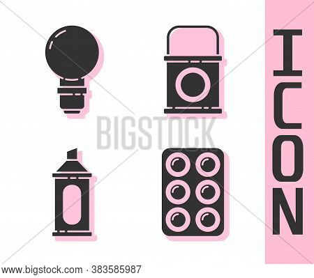 Set Watercolor Paints In Box, Light Bulb, Marker Pen And Paint Bucket Icon. Vector