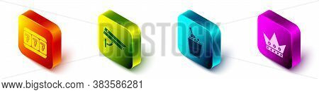 Set Isometric Slot Machine With Lucky Sevens, Security Camera, Champagne In An Ice Bucket And King P