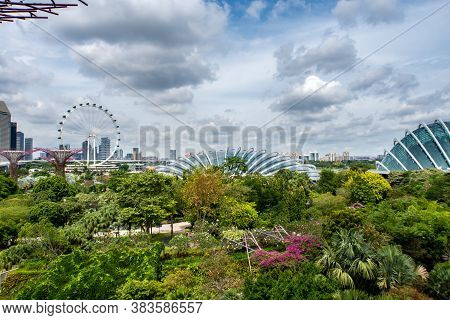 Singapore, 22/01/19. Singapore Skyline With Skyscrapers, Flower Dome, Supertree Grove And Singapore