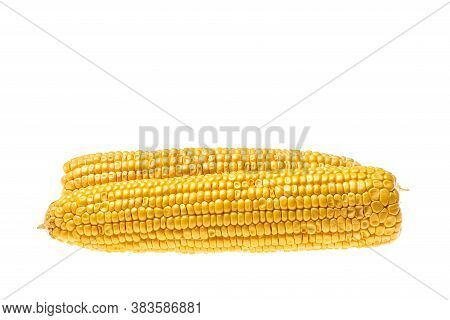 Two Corncobs Lying Parallel Isolated On White Background. Close Up. Copy Space.