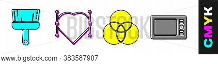 Set Paint Brush, Heart With Bezier Curve, Rgb And Cmyk Color Mixing And Graphic Tablet Icon. Vector