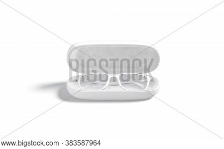 Blank White Opened Case With Glasses Mock Up, Front View, 3d Rendering. Empty Eye-glass Protector Co