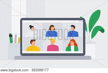 Vector Trendy Illustration A Group Of People Friends Meeting Online Video Conference Call. People Vi