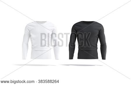 Blank Black And White Longsleeve T-shirt Mockup Set, Front View, 3d Rendering. Empty Fit Tee-shirt F