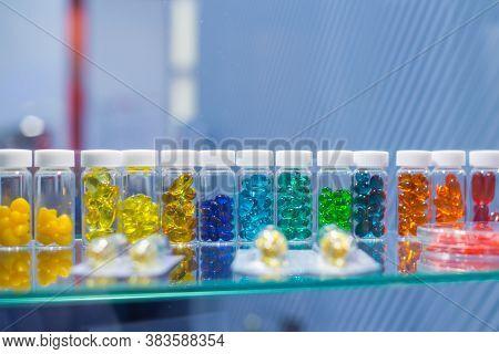 Colorful Medical Capsules, Pills, Vitamins, Tablets, Drugs, Meds In Clear Plastic Bottle For Sale At