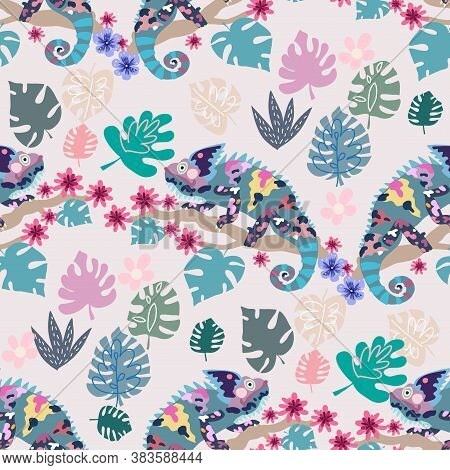 Seamless Childish Pattern With Cute Chameleons. Use For Textile, Fabric, Wallpaper,  Kids Apparel, P