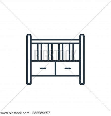 baby crib icon isolated on white background from furniture collection. baby crib icon trendy and mod
