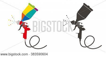 Paint Sprayer Vector Illustration.spray Gun For Car Body Painting, Aerography Airbrush.