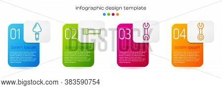 Set Line Trowel, Hand Saw, Wrench Spanner And Wrench Spanner. Business Infographic Template. Vector