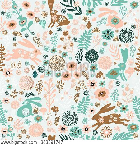 Beautiful Seamless Pattern  With Rabbit, Easter Bunny  And Meadow Spring Flowers, Leaves. Cute Baby