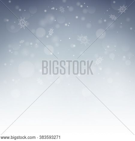 Snow Decoration On Silver Background. Snowy Landscape Isolated On Blue Background. Holiday Winter La