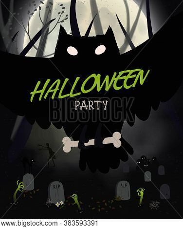 Halloween Night Poster With Black Owl, Graveyard, Bats, Big Moon. Flyer Or Invitation Template For H