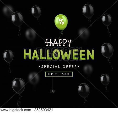Halloween Sale Design Banner With Colorful Balloons. Vector Illustration