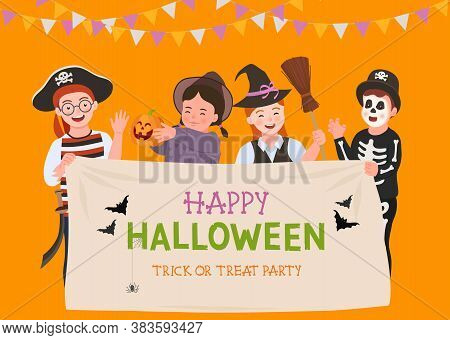 Halloween Party Poster. Group Of Fun Kids