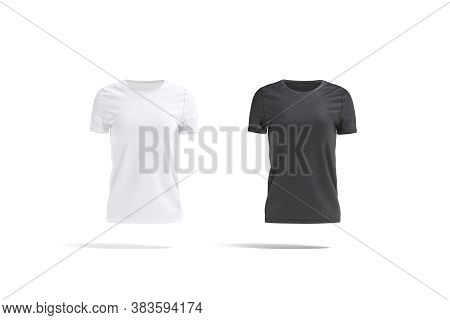 Blank Black And White Women T-shirt Mockup Set, Front View, 3d Rendering. Empty Female Basic Casual