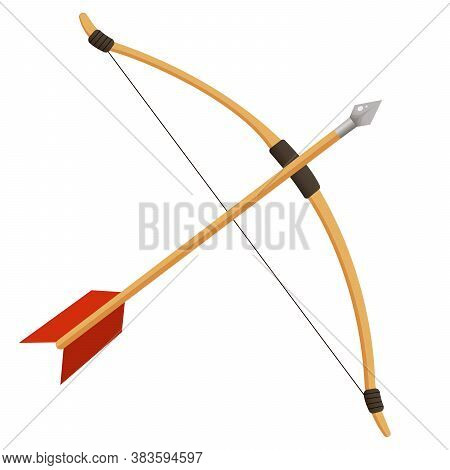 Color Image Of Cartoon Bow With Arrow On White Background. Sports Equipment. Bow Shooting Or Archery