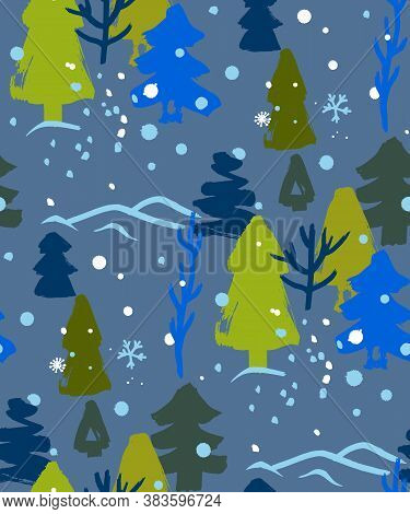 Christmas Winter Pattern With Hand-drawn Trees And Trees In Naive Drawing Style For The Design Of Ou