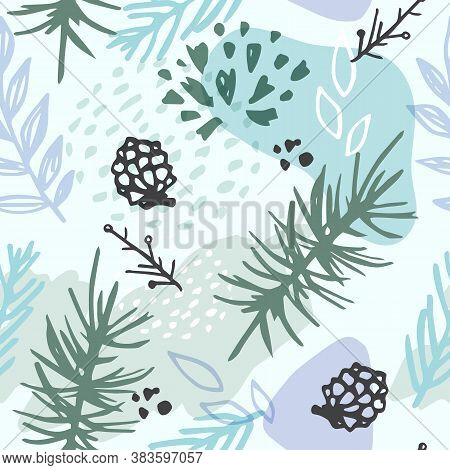 Abstract Winter Seamless Pattern With Evergreen Plants, Pine Cone And Fir. Decorative Seasonal Vecto