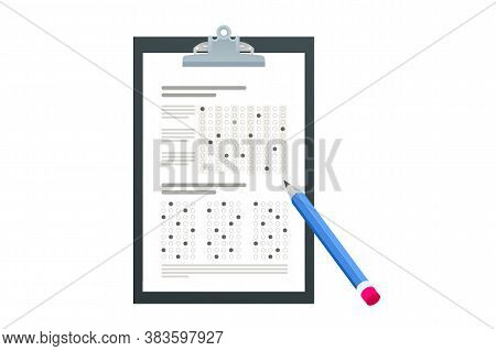 The Student Filling Out Answers To Exam Test Answer Sheet With A Pencil. School And Education. Test