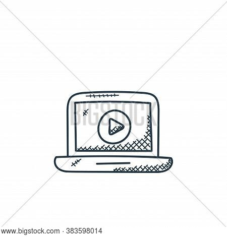 online video icon isolated on white background from music collection. online video icon trendy and m